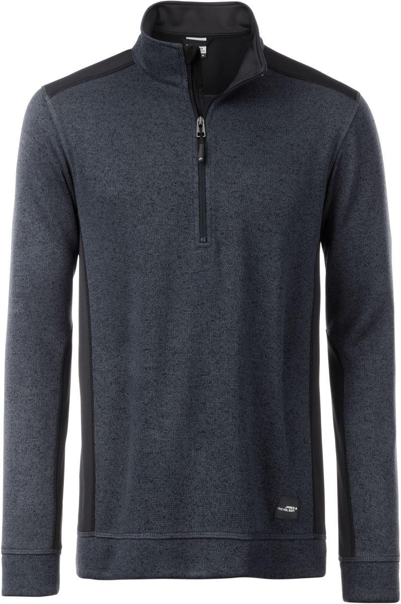 JN864 Men James /& Nicholson Mens Knitted Workwear Fleece Half-Zip Pullover